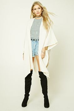 Style Deals - A wool-blend cardigan featuring a draped silhouette, open-front, short dolman sleeves, and ribbed trim.