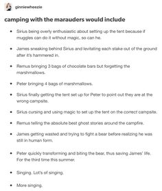 The Marauders and camping