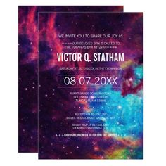 Shop Custom Colorful Galaxy Wedding Rehearsal Dinner Invitation created by RenImasa. Personalize it with photos & text or purchase as is! Bachelor Party Invitations, Bar Mitzvah Invitations, Graduation Party Invitations, Rehearsal Dinner Invitations, Wedding Invitations, Wedding Rehearsal, Galaxy Party, Galaxy Wedding, Galaxy Theme