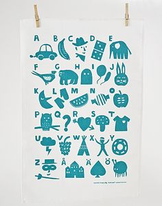 kauniste aakkoset alphabet tea towel | Cube Marketplace via Apartment Therapy