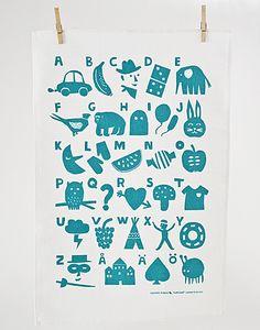 kauniste aakkoset alphabet tea towel   Cube Marketplace via Apartment Therapy