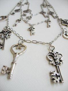 Antique Silver Keys Necklace by arianaalysedesigns on Etsy, $60.00