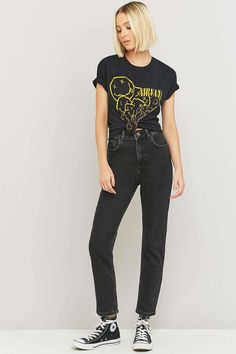 BDG High-Waisted Washed Black Girlfriend Jeans