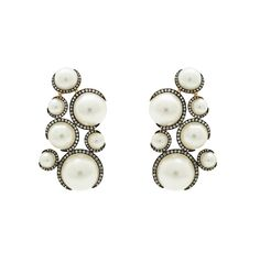 Christina Debs pearl earrings with brown diamonds in rose gold, from the Candy Pop collection.