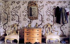 swedish wallpaper. drottningholm palace.