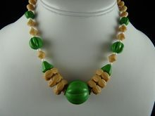 Art Deco Glass Bead Necklace Opaque Green and Tan $60