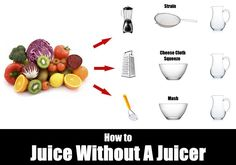 Learn 3 ways how to juice without a juicer by blending, pitcher mashing, and grating. Juicing without a juicer is simple and easy to do at home. Healthy Juices, Healthy Snacks, Detox Juices, Home Recipes, Indian Food Recipes, How To Juice Without A Juicer, Juicing Storage, Lobster Roll Recipes, Raw Juice