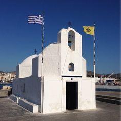 Aigina Port, Egina, Greece — by Kelly S. Beautiful small church of Saint Nicolas.