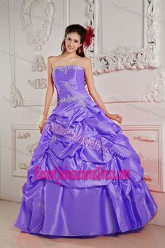 Strapless Floor-length Taffeta Purple Sweet 15 Dress with Pick-ups