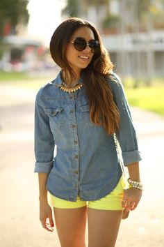 denim shirt and any neon shorts is such a great summer look! Neon Shorts, Yellow Shorts Outfit, Bright Shorts, White Shorts, Short Outfits, Stylish Outfits, Fashion Outfits, Girl Outfits, Fashion Clothes