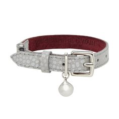 The limited edition 'Ghost' leather cat collar from Cheshire & Wain is made from very special silver embossed leather - truly the final word in feline neckwear.