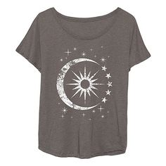 LC Trendz Stone Celestial Sun & Moon Tri-Blend Dolman Tee (€16) ❤ liked on Polyvore featuring tops, t-shirts, relax t shirt, relaxed fit tops, dolman tops, dolman t shirt and relaxed fit t shirt