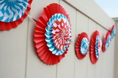 Dr. Seuss Thing 1 and Thing 2 1st Birthday Party for Twins - Twin - Red and Aqua Blue - Chevron & Polka Dots - centerpiece decorations - decor ideas - bunting - paper fans