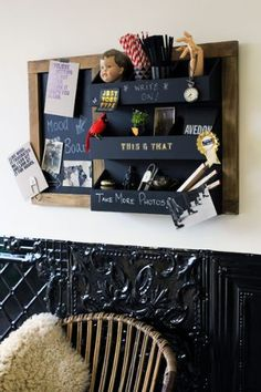 Wall Mounted 9 Compartment Chalk Board Storage  Display Unit