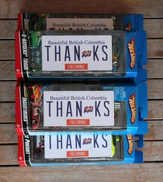 License Plate Thank You Notes attached to the Hot Wheels take home gifts. By Rosa Pearson @ FlutterFlutter.