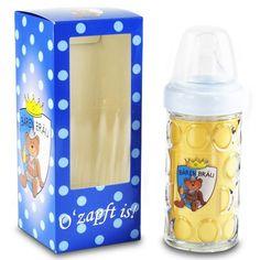 Prost Baby! Nuckelkrug Bären Bräu Blau Baby Trinkflasche 18cm Bier