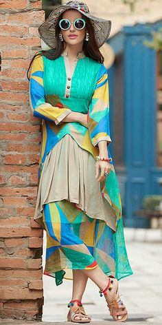 Blossoms Blue Multi Color Georgette Kurti.
