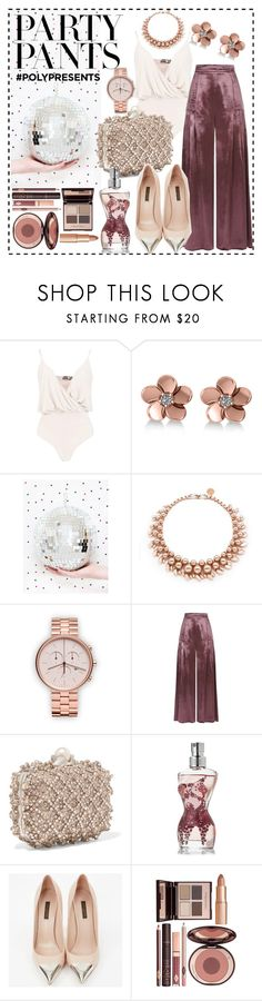 """#polypresents - Party Pants!"" by courtneyscott-3 ❤ liked on Polyvore featuring Boohoo, Allurez, Ellen Conde, Temperley London, Jimmy Choo, Jean-Paul Gaultier, Louis Vuitton and Charlotte Tilbury"