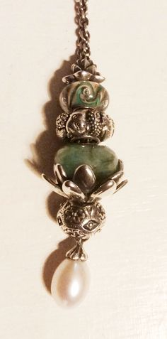 Trollbeads Fantasy necklace with pearl pendant,  December 2014 #trollbeads