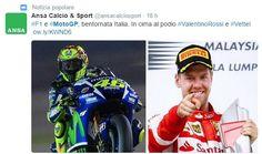Domenica da delirio per i tifosi italiani appassionati: dalla vittoria della Ferrari con Vettel al mattino al podio tutto italiano in MotoGP con Rossi che precede Dovizioso e Iannone su Ducati
