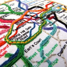London Underground hoop art by mirrymirry - detail Hand Embroidery Stitches, Embroidery Hoop Art, Hand Embroidery Designs, Cross Stitch Embroidery, Embroidery Letters, Sculpture Textile, Textile Art, London Underground, Underground Tube