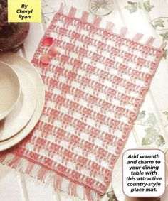 Easy Beginner Crocheting Crochet Pattern Checked REVERSIBLE PLACE MAT Placemat