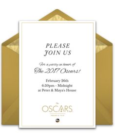 Free online invitation from our exclusive Oscar's invitation gallery. It's perfect for hosting a glamorous Oscar's party. Easily personalize and send online for free.