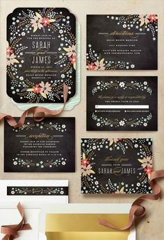 Loving these chalkboard floral wedding invitations. Gorgeous suite of save the dates, invitations, thank you cards!