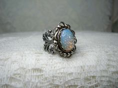 Ring  White Opal Ring  Vintage Style Ring   by TwystedCreations, $16.95