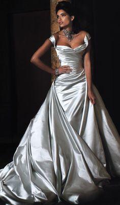 designer wedding dress -Silver Satin, detachable long train, veil cost £4650 new