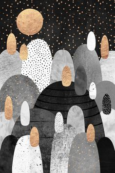 iCanvas Little Land Of Pebbles By Night (Black) Gallery Wrapped Canvas Art Print by Elisabeth Fredriksson Little Land, Canvas Wall Art, Canvas Prints, Atelier D Art, Art Prints Online, Art Mural, Cool Paintings, Grafik Design, Painting Inspiration