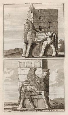 Sfinx in het eerste Poortael; Sfinx in het tweede Poortael - Persepolis - 1704 - Cornelis de Bruijn - New York Public Library - Digital Collections