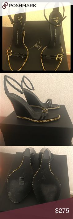 Giuseppe Zanotti- Black Sandals BEAUTIFUL BRAND NEW GIUSEPPE BLACK WEDGES!-I'm selling them because they are to small for me. Only worn once- Comes with original box and shoe bags. Size 38EU. *willing to possibly trade for other designer shoes. Giuseppe Zanotti Shoes