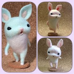 Needle felted bunnys - how cute are these? By Hane of Japan.