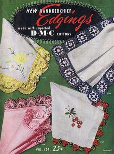 Vintage 1950s Crochet Handkerchief Edging Patterns