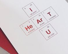 "Red Metallic Foil Valentine's Day Card / Periodic Table of the Elements ""I HeArT U"" / Sentimental Elements Love Card / Science Valentine Science Valentines, Valentines For Kids, Valentine Crafts, Science Wedding, Periodic Table Of The Elements, A2 Envelopes, Valentine Greeting Cards, Gifts For Coworkers, Love Cards"