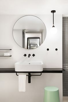Retro Style Minimalist Bathroom Sink Counter and Mirror