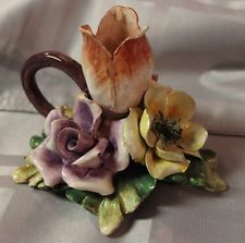 Capodimonte Style Detailed Ceramic Flower Chamber Candlestick  Holder - VINTAGE opening bid $7.49 + 3.99 sh