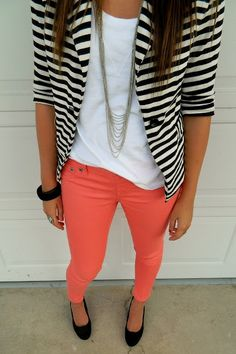 Extremely Chic Combinations with Colored Jeans I'm thinking my black jeans, coral top and white jacket
