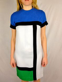 Piet Mondrian 1960s Style Vintage Shift Dress por gathercollective