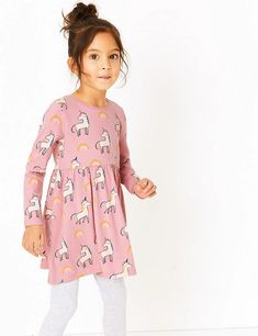 Shop this Pure Cotton Unicorn & Rainbow Dress Mths - 7 Yrs) at Marks & Spencer. Browse more styles at Marks & Spencer US Knitted Christmas Jumpers, Baby Girl Pajamas, Rainbow Print, Bra Styles, Fashion Advice, 6 Years, Day Dresses, Knitwear, Girl Outfits
