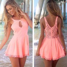 #summer #dress #fashion #style #outfit #sundress #salmon #colorful #blonde #beach #love #beautiful #cute || More Fashion at www.misskady.com ||