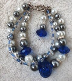 Blue white gray and sliver triple strand by MysticalGypsies, $12.00