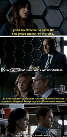 Anyone else see this!!!??? Marvel's Agents of S.H.I.E.L.D. Grilled Cheese, Skye, Coulson, Lab, FitzSimmons