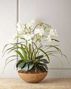 Faux Moth Orchid in Planter # Boden # Laub # gemalt - Bepflanzung Orchid Planters, Orchid Pot, Moth Orchid, White Planters, Phalaenopsis Orchid, Orchid Care, Flower Planters, Artificial Flower Arrangements, Artificial Flowers