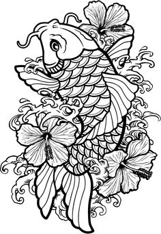 Japanese Tattoos 307933693271419119 - Coloriage poisson carpe koi coloriage Source by egoraszewska Japanese Koi Fish Tattoo, Koi Fish Drawing, Fish Drawings, Tattoo Drawings, Flower Drawings, Koi Tattoo Design, Tattoo Designs, Pez Koi Tattoo, Coy Fish Tattoos