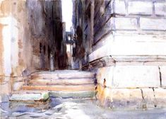 Base of a Palace, 1904 by John Singer Sargent. Impressionism. cityscape