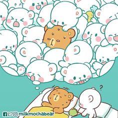 Mocha in his dreams. Cute Bear Drawings, Cute Kawaii Drawings, Cute Love Pictures, Cute Love Gif, Cute Couple Cartoon, Cute Love Cartoons, Bear Instagram, Wallpaper Fofos, Bear Wallpaper