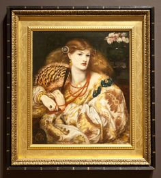 D.G. Rossetti, Monna Vanna, 1866, Tate. This has a 'Watts' frame, with a punched design like brocade on the frieze, & the same outer frame as FM Brown, Jesus Washing Peter's Feet, of black flutes striped with gold. Brown described the punched 'Watts' frame as 'a Venecian [sic] pattern (much liked now by friends of mine …) – to be had at Messrs Green & Co…