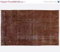ON SALE 5,8 x 9,7 FT   174X290 cm             Vintage Brown  handmade faded-distressed overdyed rug Free shipping (4406)